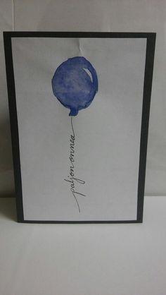 balloon birthday card, syntymäpäiväkortti, diy, watercolour