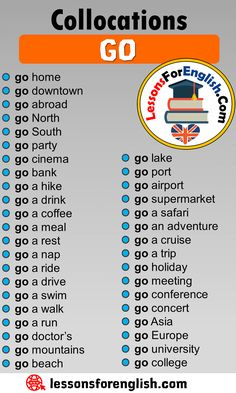 Collocations with GO in English - Lessons For English English Verbs, English Phrases, Learn English Words, English Study, English Grammar, English Learning Spoken, English Language Learning, Teaching English, Essay Writing Skills