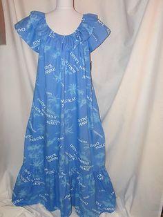 Sz XL VTG 90s Hilo Hattie MuuMuu NWT Blue Floral Plus Island Names Ruffles Fun SOLD Samoan Dress, Hawaiian Muumuu, Nighties, Cousins, Boutique Clothing, Color Combinations, Ruffles, Sewing Patterns, Daughter