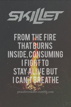"""""""From the fire, that burns inside, consuming; I fight to stay alive but I can't breathe,"""" -- Skillet; Madness In Me; Rise"""