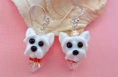 Westie Earrings  Lampwork Glass Bead Art Earrings by SUZOOM, $38.00