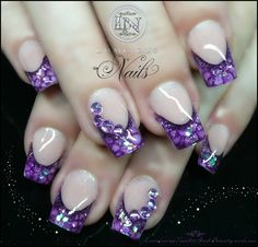 Luminous Nails: Purple Snake Skin Effect Nails...