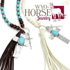 Wyo-Horse Jewelry - Wooden Beads and Tassel with Cross - White or Brown