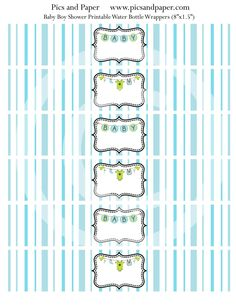 Printable Baby Shower water bottle labels P3- Green, Blue, baby clothes line. $4.50, via Etsy. Baby Shower Printables, Printable Party, Water Bottle Labels, Clothes Line, Baby Bottles, Baby Boy Shower, Blue Bottle, Cupcake Toppers, Baby Blue