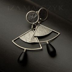 Zen Garden - Uzumaki Earrrings - unikatowe srebrne kolczyki z matowym onyksem Biżuteria Kolczyki Iza Malczyk