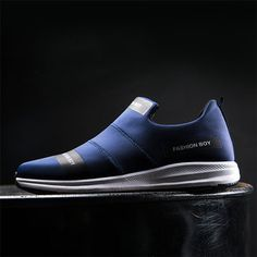 Men Stretch Elastic Fabric Water Resistant Gym Sneakers Sport Running Shoes