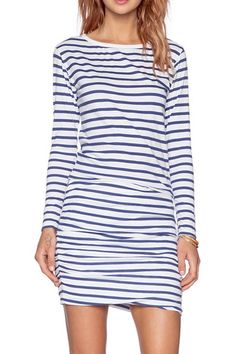 Long Sleeve Striped Ruched Dress