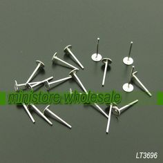 Bulk Sale  400pcs Silver Plated Ear Posts With 4mm by ministore, $4.50