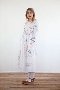 The Quinnie tea dress made from vintage embroidered linen tablecloths @ lu flux