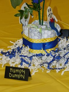 """Nursery Rhyme Baby Shower- """"Humpty Dumpty"""" Centerpiece  Desired Memories- Like what you see? Visit https://www.etsy.com/shop/DesiredMemories?ref=hdr_shop_menu# And request a custom order!"""