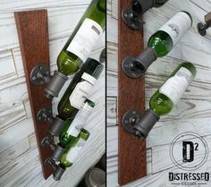 This custom wine rack is made of repurposed black iron pipe fittings and an oak plank. It can hold up to 4 bottles and both the wood and