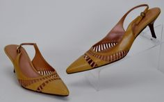 Cole Haan Shoes Women's Size 7.5 N Brown Pink Iridescent Slingback Heels #ColeHaan #KittenHeels #Casual