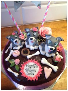 Homemade husky cake icing birthday dog sugar craft