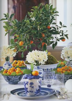 Blue and white tablescape with citrus