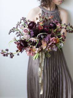 Purple Wedding Flowers shades of purple moody wedding bouquet Winter Wedding Flowers, Fall Wedding Bouquets, Bride Bouquets, Bridal Flowers, Floral Bouquets, Floral Wedding, Wedding Colors, Purple Bouquets, Deep Purple Wedding