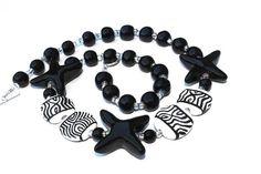 Starfish Ceramic Necklace Kazuri Beads Holiday by aPerfectMoment, $60.00