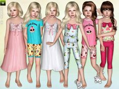 Girls Sleepwear Set by Lillka - Sims 3 Downloads CC Caboodle