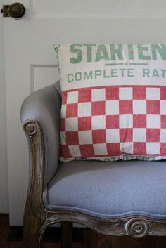 Handmade farmhouse vintage cotton feed sack pillow!