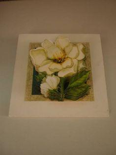 Quadro 3D  Rosas Brancas I - moldura com vidro R$ 35,00