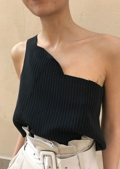 Pinstripe top with belted high wait trousers creative outfit inspiration summer style