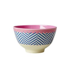Rice Sailor Stripe Melamine Bowl : Small melamine bowl with a sailor stripe print and pink bunting style trim around the rim. Pink Bunting, Kitchenware Shop, Paper Mache Bowls, Melamine, Kids Dishes, Kids Plates, Goods Home Furnishings, Pottery Painting, Blue Cream
