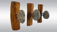 3 pcs Stone Hooks - hanger Coat Rack with natural Sea STONES. Rock towel hangers. Sea Stones Coast Hook - Wall mounted solid wood coat rack