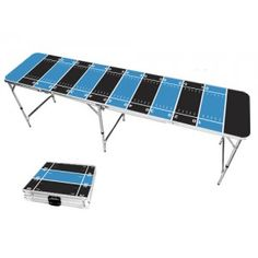 Blue & Black Football Field 8 Foot Portable Folding Tailgate Beer Pong Table from TailgateGiant.com