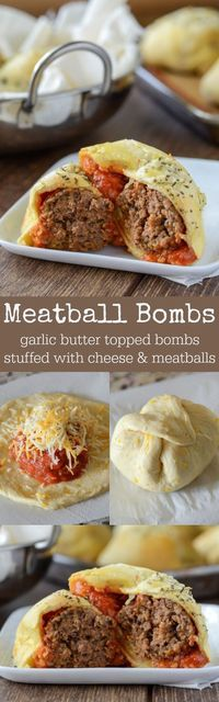 30 Minute or Less Meatball Bombs Recipe via The Novice Chef - garlic butter topped meatball & cheese stuffed bombs! I wonder if using an egg or cauliflower wrap would taste good and make it gluten free and paleo? - The BEST 30 Minute Meals Recip I Love Food, Good Food, Yummy Food, Tasty, Beef Dishes, Italian Recipes, Garlic Butter, Lemon Butter, The Best