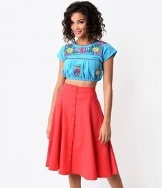 762a4cd08 Never skimp on the Southwest! An exquisitely embroidered cotton top cropped  to perfection in a