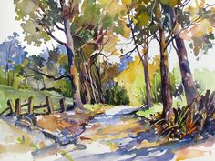 Olinda Trees Maui Painting by Rae Andrews - Olinda Trees Maui Fine Art Prints and Posters for Sale Watercolor Landscape Paintings, Watercolor Trees, Watercolor Sketch, Watercolor Artists, Artist Painting, Landscape Art, Watercolor Portraits, Painting For Sale, Abstract Paintings