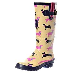 ADJUSTABLE BUCKLE FLAT WELLY RAIN BOOTS YELLOW DOGS SZ 8 ** Find out more about the great product at the image link.