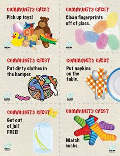 iMOM Little Clutter Jail Printable Kids lose their toys for not picking up, then draw from the Community Chest Cards to earn back their toys