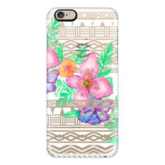 iPhone 6 Plus/6/5/5s/5c Case - Exotic hawaiian floral watercolor... ($40) ❤ liked on Polyvore