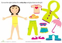 Preschool Weather & Seasons Paper Projects Worksheets: Rainy Day Paper Doll Girl free paper dolls at artist Arielle Gabriel's The International Paper Doll Society also free Asian paper dolls at The China Adventures of Arielle Gabriel * Preschool Weather, Free Preschool, Preschool Printables, Preschool Worksheets, Free Printables, Seasons Worksheets, Weather Worksheets, Clothes Worksheet, Paper Dolls Clothing