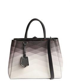 Fendi black and ivory ombre pattern detail  2Jours  medium shopper tote  Devil Wears Prada 188cc16460c9