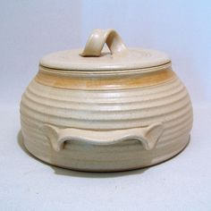 Pottery 3 quart  Casserole in Sand with a Tan Stripe by JimAndGina