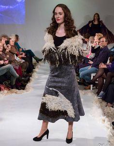 Felted skirt wool women skirt  grey felted skirt Crane wool