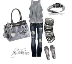 Tiered tank with patchwork jeans. :), created by shauna-rogers on Polyvore
