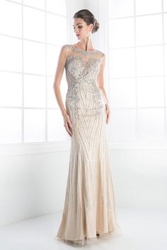 Art Deco High End beaded wedding dress long mermaid bridal gown reception for Offbeat Bride Sheer 4 - 18