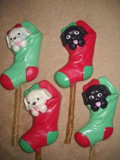 1 Dog Safe Chocolate gourmet christmas sock treat Rawhide lollipop Lollipops