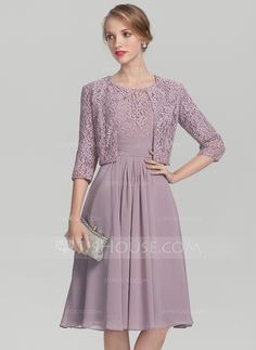 a35d6d21299 A-Line Princess Scoop Neck Knee-Length Chiffon Lace Mother of the Bride  Dress With Ruffle (008131936)