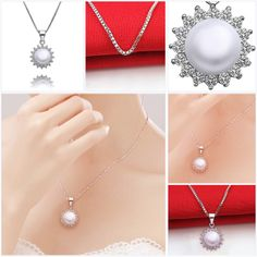 Romantic Tin Alloy Pearl Pendant Necklaces