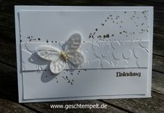 Hochzeitseinladung in Weiß und Gold, Butterfly, Einladung, eins für alles, Gold, Hochzeit, Schmetterlinge, stampin up, Wedding Invitation, Schmetterlingsschwarm, Georgeous Grunge