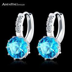 New Arrival Hoop Earrings Silver Color Inlay Cubic Zircon Fashion Women Wedding Earrings Jewelry
