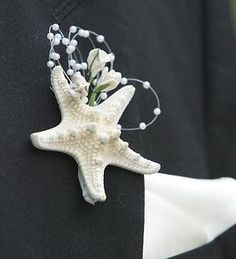 Starfish Boutonniere -Beach Wedding Gorgeous with Pearls and Flowers- - Wix Website Ideas - DIY your own website with Wix. - Starfish Boutonniere -Beach Wedding Gorgeous with Pearls and Flowers- Beach Wedding Boutonniere, Wedding Bouquets, Boutonnieres, Groomsmen Boutonniere, Seashell Bouquet, Nautical Wedding, Groom And Groomsmen, Beach Themes, Wedding Inspiration