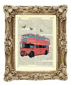 Red London Bus with Butterflies - Vintage Dicti... - Folksy  http://folksy.com/items/3249194-Red-London-Bus-with-Butterflies-Vintage-Dictionary-Art-Print-