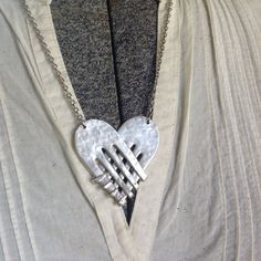 Love's Embrace Vintage Fork Necklace by artisticicing on Etsy . Super recycled heart necklace!