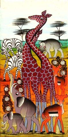 тинга-тинга Fabric Painting, Painting & Drawing, Animal Outline, Contemporary African Art, Christmas Fabric, African Animals, Tribal Art, Black Art, Art School
