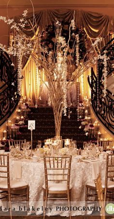 Glamorous gold Gatsby themed wedding reception - such a stunning centerpiece #wedding #gold #gatsby #reception #artdeco