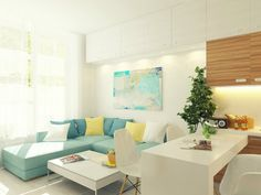 Maximize Small 29 square meter sq ft) For Apartment Design: modern and fascinating small apartment living room interior with fabric s. Open Plan Apartment, Small Apartment Design, Condo Design, Small House Design, Apartment Interior, Small Rooms, Small Spaces, Tiny Apartments, Condo Living